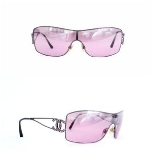 CHANEL PINK Crystal Logo Sunglasses